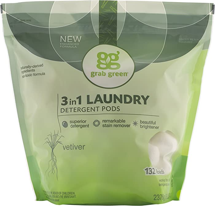 Grab Green Natural 3 in 1 Laundry Detergent Pods, Vetiver-With Essential Oils, 132 Loads, Organic Enzyme-Powered, Plant & Mineral-Based, 84 Ounce