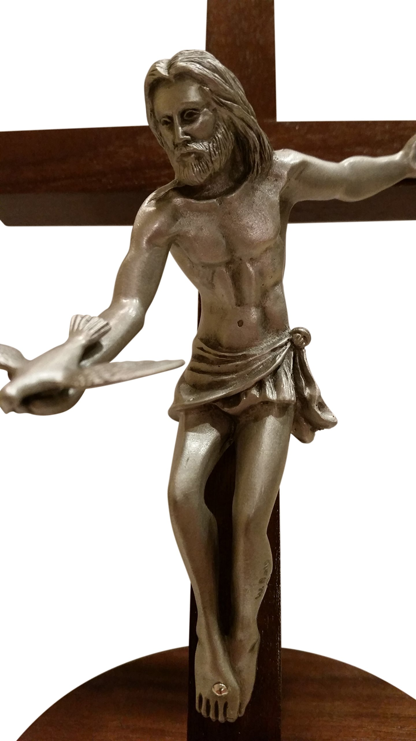 Inspire Nation Gift of the Spirit Walnut Wood Standing Wall Cross Crucifix with Removable Base for Hanging 8 inches by Inspire Nation (Image #9)