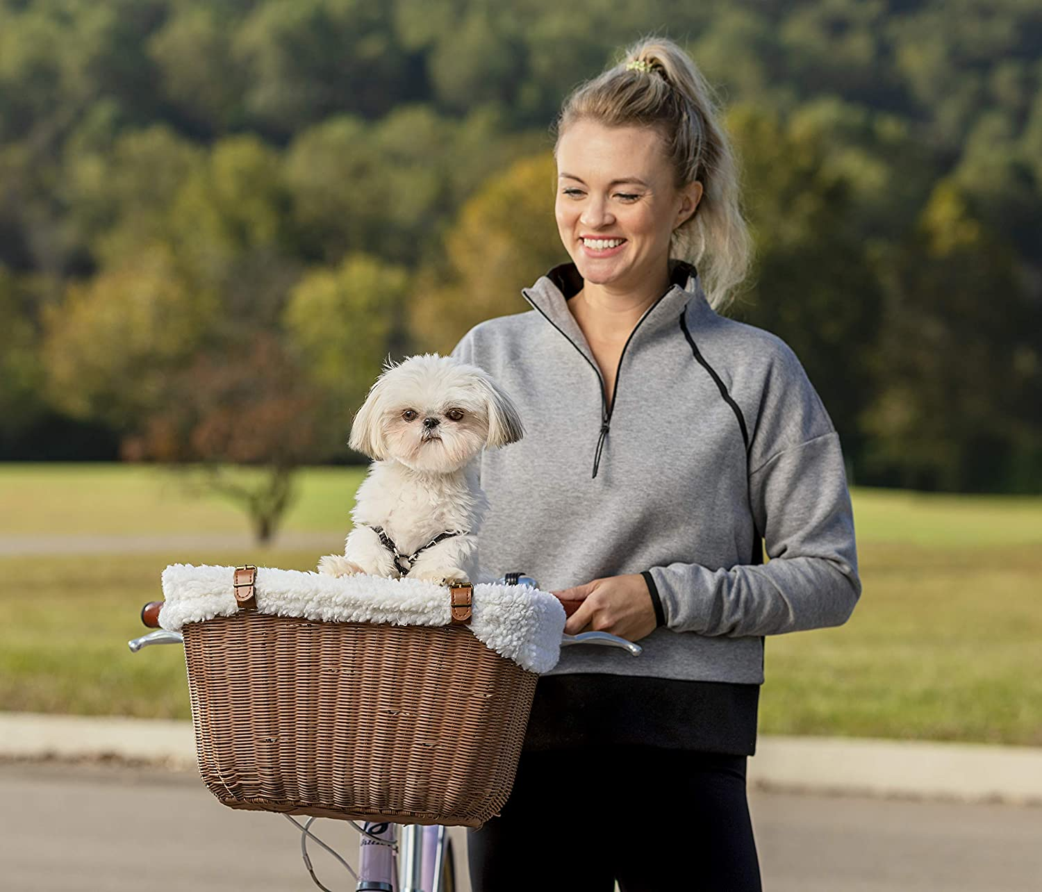 PetSafe Happy Ride Wicker Bicycle Basket for Dogs