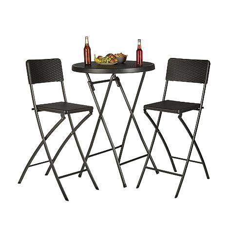 Relaxdays Bastian Taburetes de Bar Plegables, Aspecto de ratán, Respaldo, sillas Bistro, Plegables, 78 cm de Altura, contralaloras, Color Negro