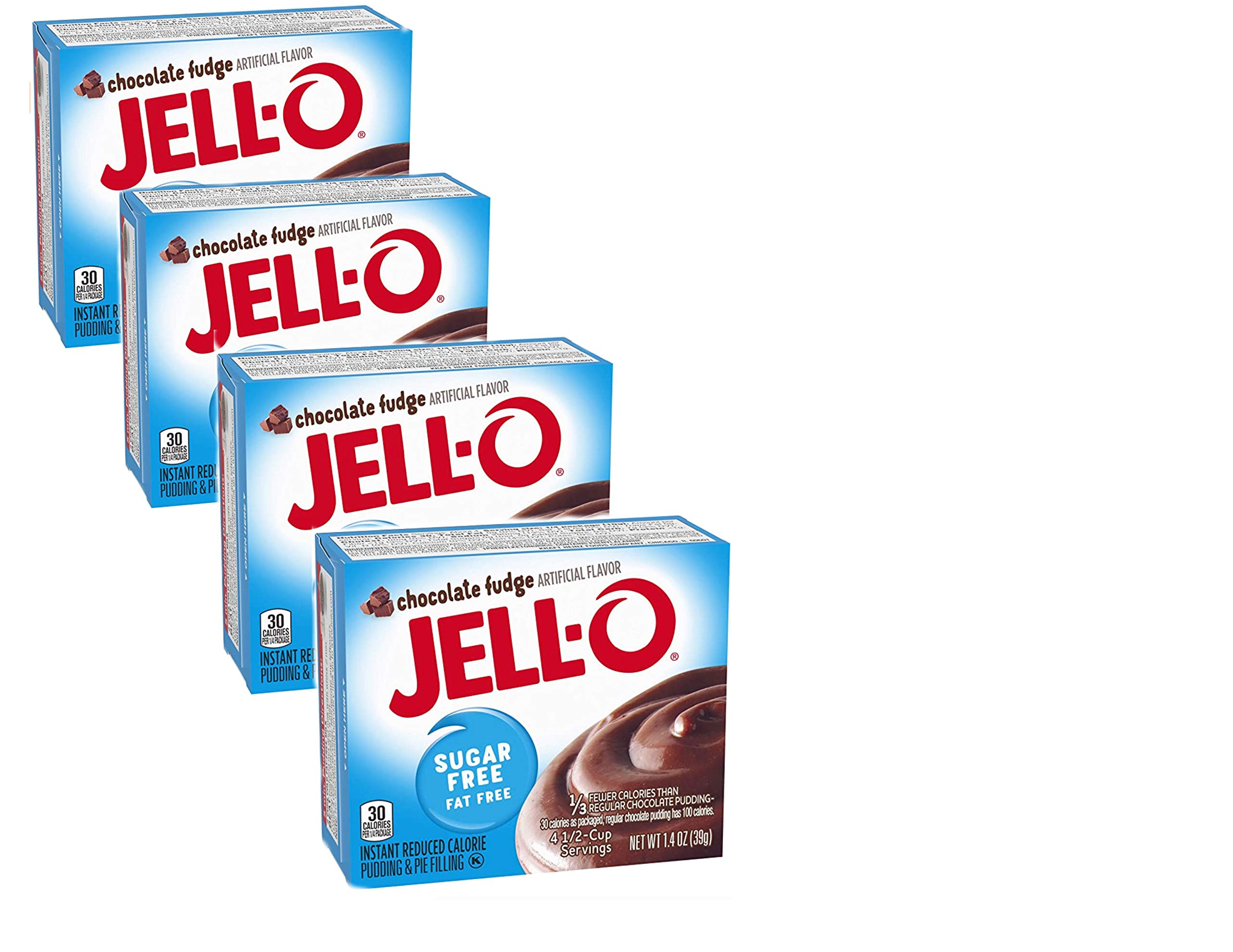 JELL-O Sugar Free Chocolate Fudge Instant Pudding & Pie Filling - 1.4 Oz (4-Pack)