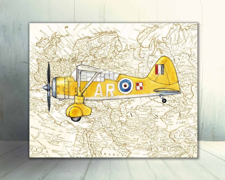 Amazon.com: Vintage airplane Old World map decor Set FOUR prints ...