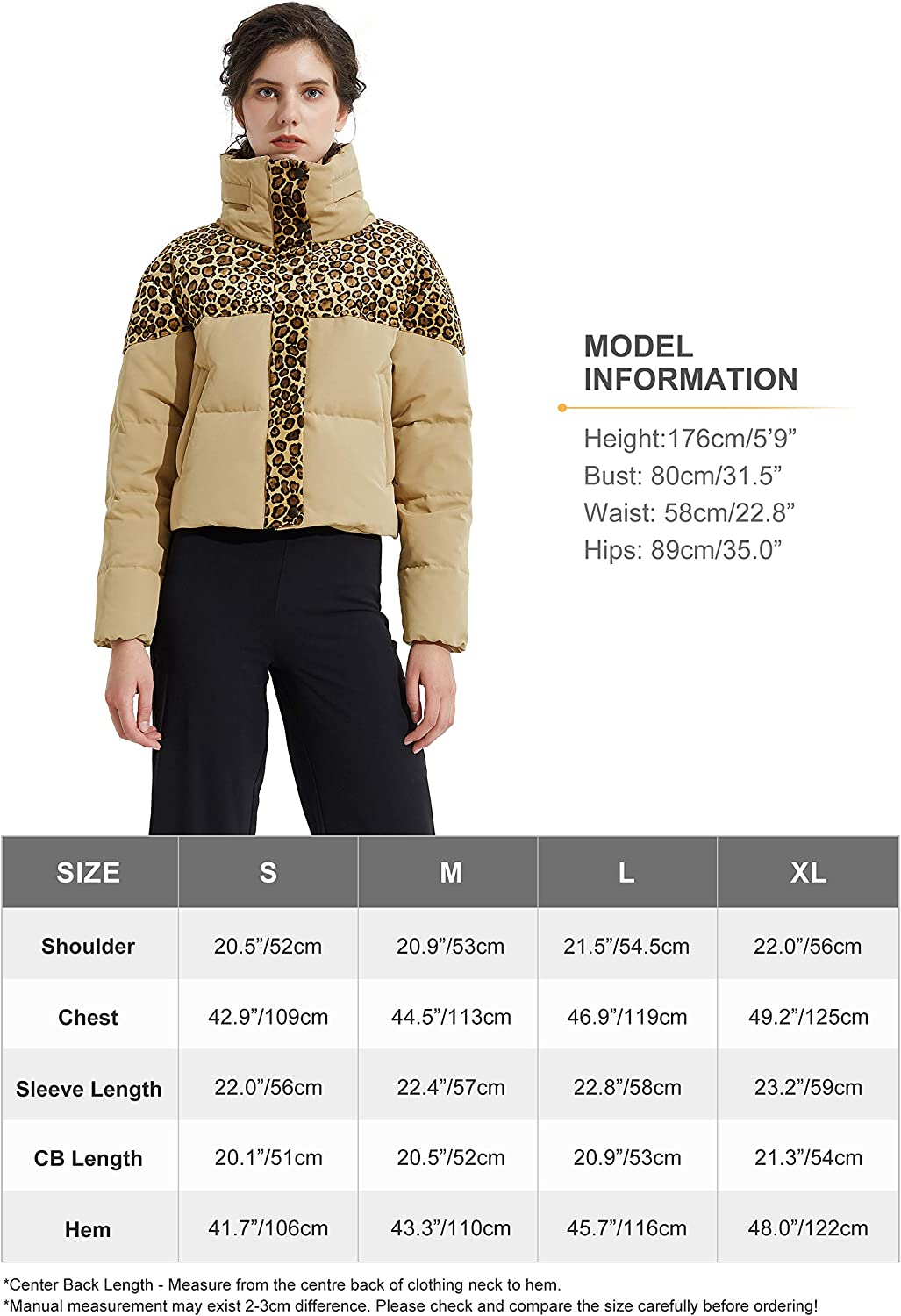 Orolay Womens Leopard Print Down Jacket Winter Coat Cropped Puffer Jacket