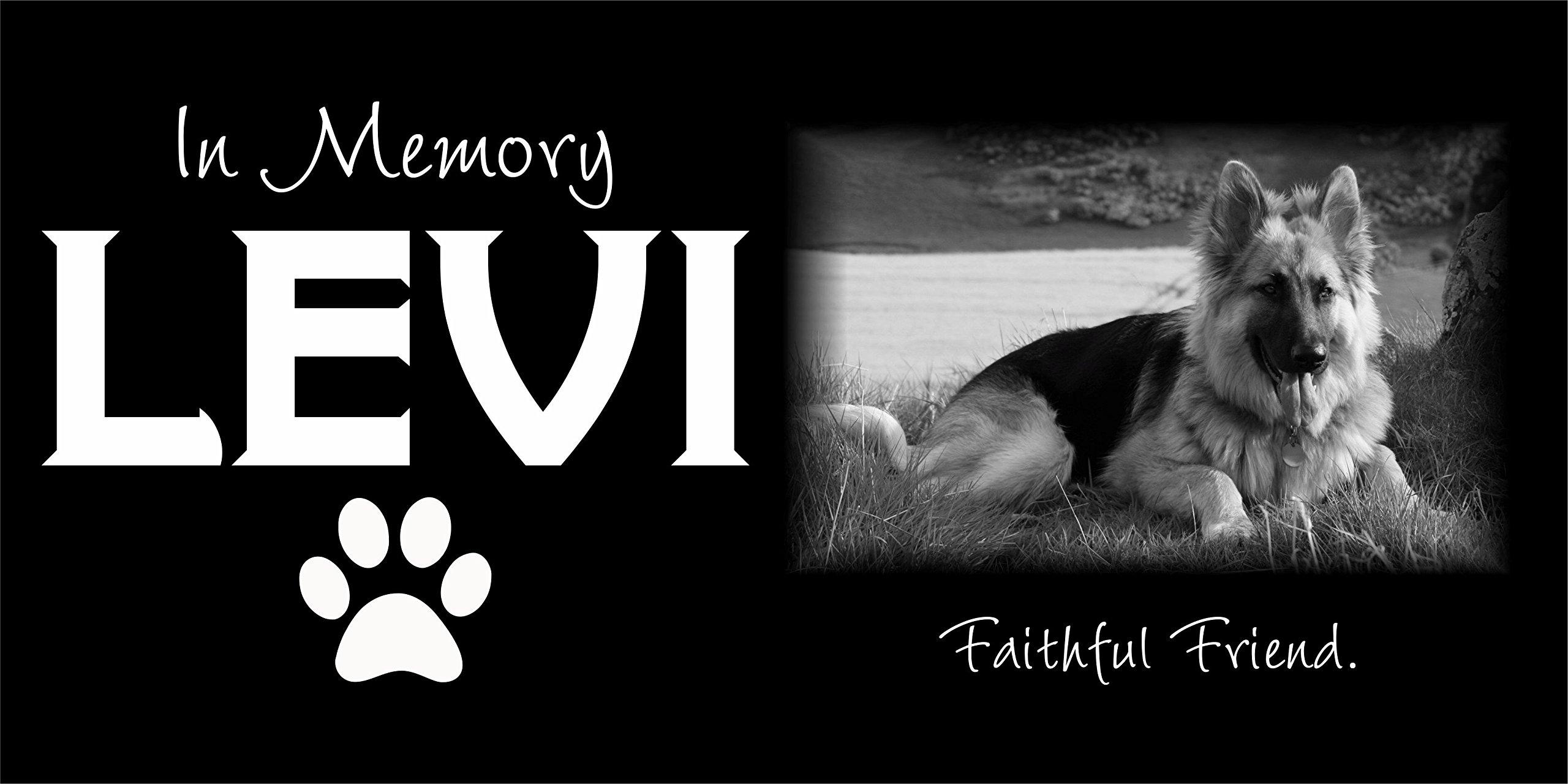 Custom Made Pet Stone Memorial Marker Granite Marker Dog Cat Horse Bird Human 6'' X 12'' Personalized German Shepherd Personalised