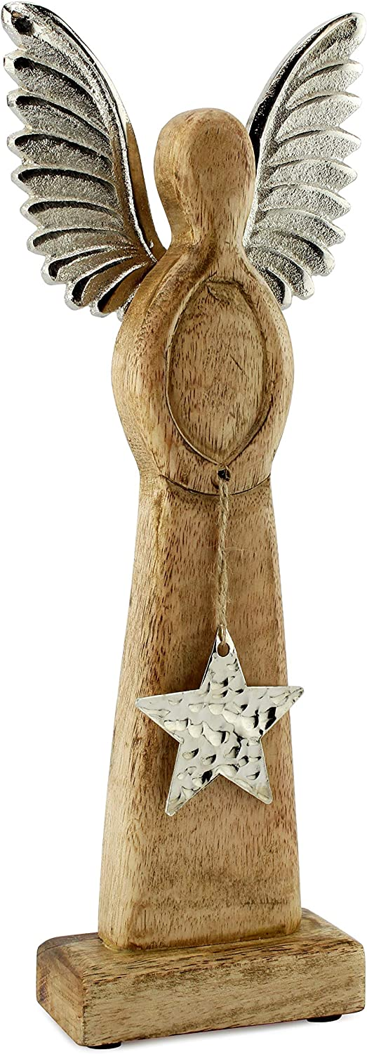 AuldHome Wooden Angel Christmas Statue; Farmhouse Holiday Decor Wood and Metal Figurine