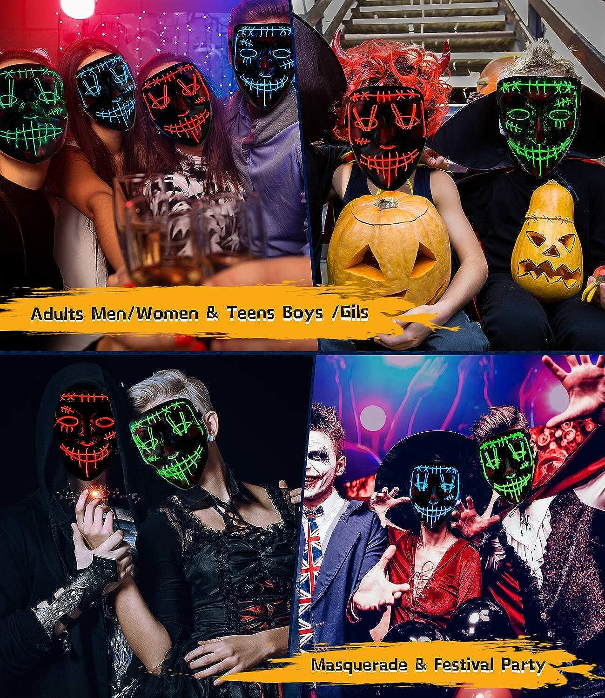 YXwin Purge Mask Light up LED Halloween Mask for Adults Men Women Boys Girls