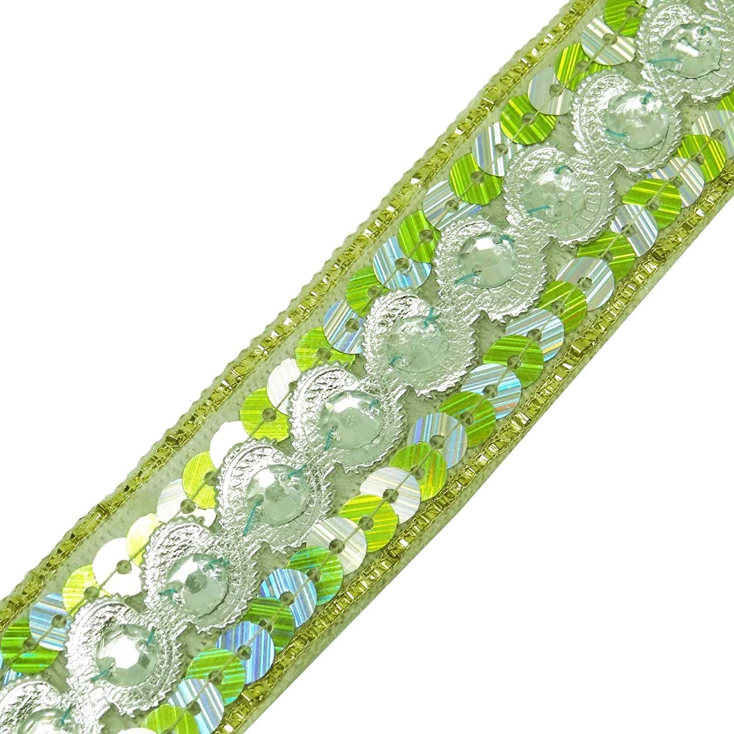 Decorative Beaded Trim Sari Border Indian 3.04 Cm Wide Sewing Material By The Yard Knitwit