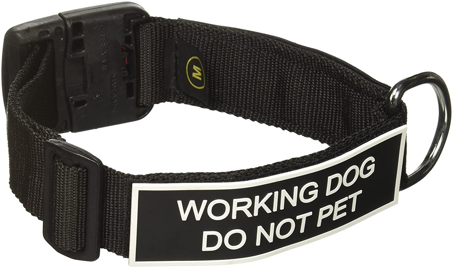 Dean and Tyler Patch Collar , Nylon Dog Collar with Working Dog DO NOT PET Patches Black Size  Medium Fits Neck 21-Inch to 26-Inch