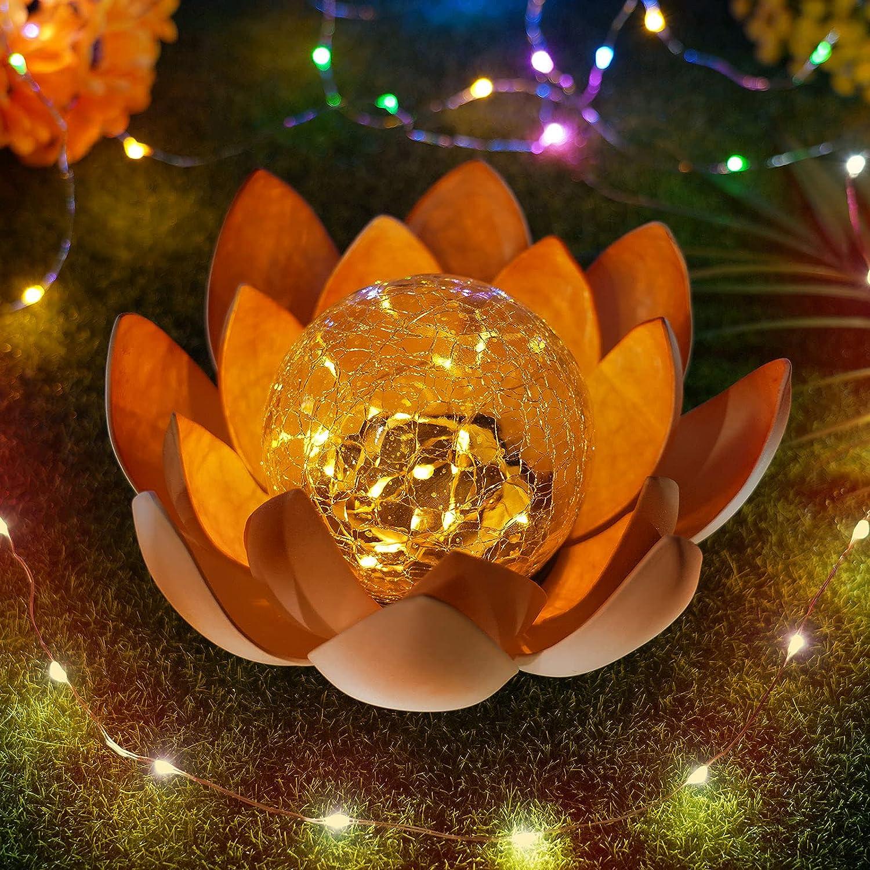 Lotus Solar Light Outdoor, Amber Crackle Globe Glass Lotus Decoration, Waterproof Metal Lotus Flower Light, Garden Summer Decor for Patio Lawn Pathway Ground