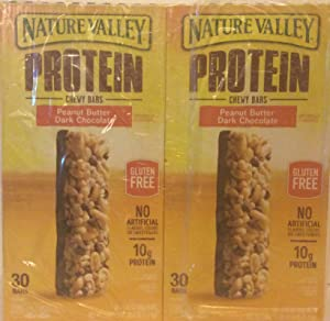 Nature Valley Peanut Butter Dark Chocolate Protein Chewy Bars (2 Super Saver Pack 30ct Each Box 1.42oz Each bar)