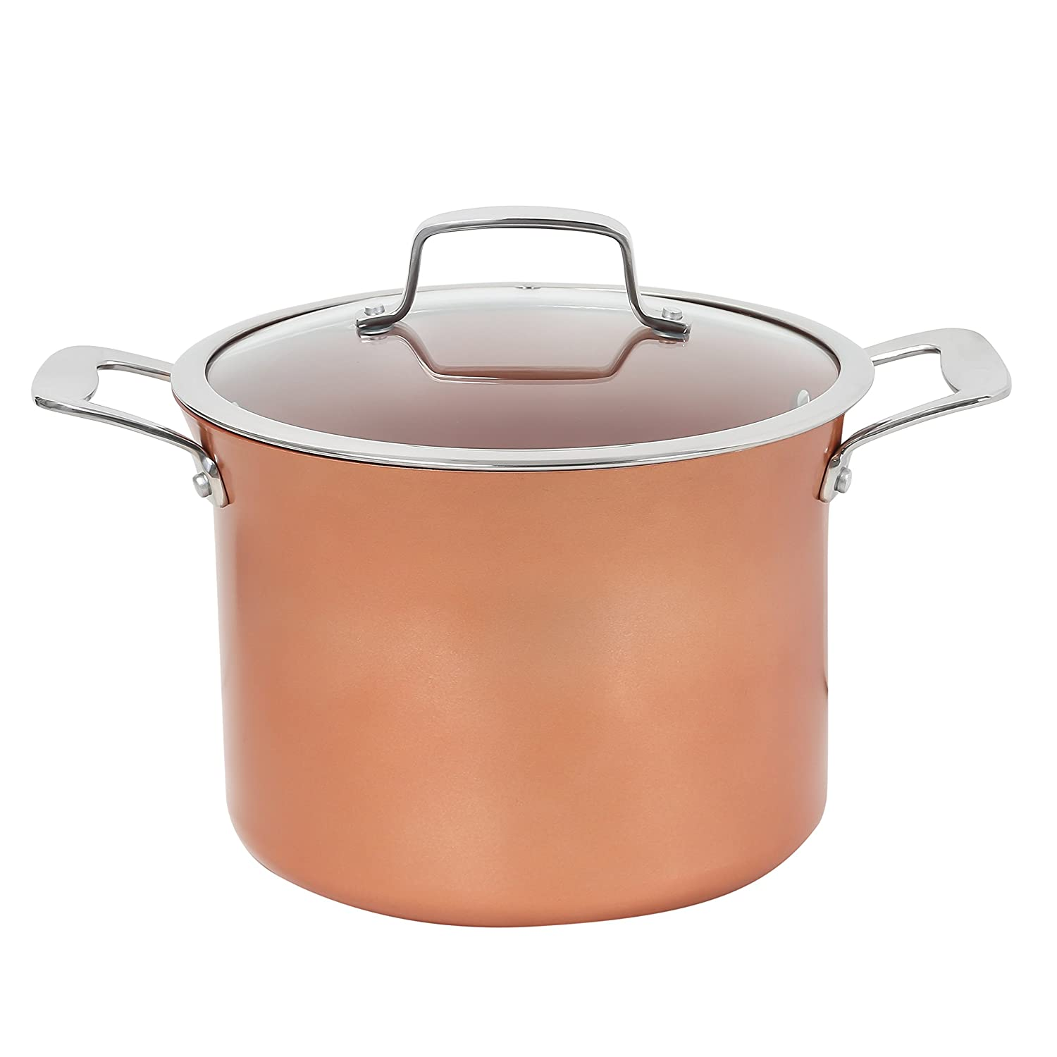 CONCORD 8.5 QT Copper Non Stick Stock Pot Casserole Coppe-Ramic Series Cookware (Induction Compatible)