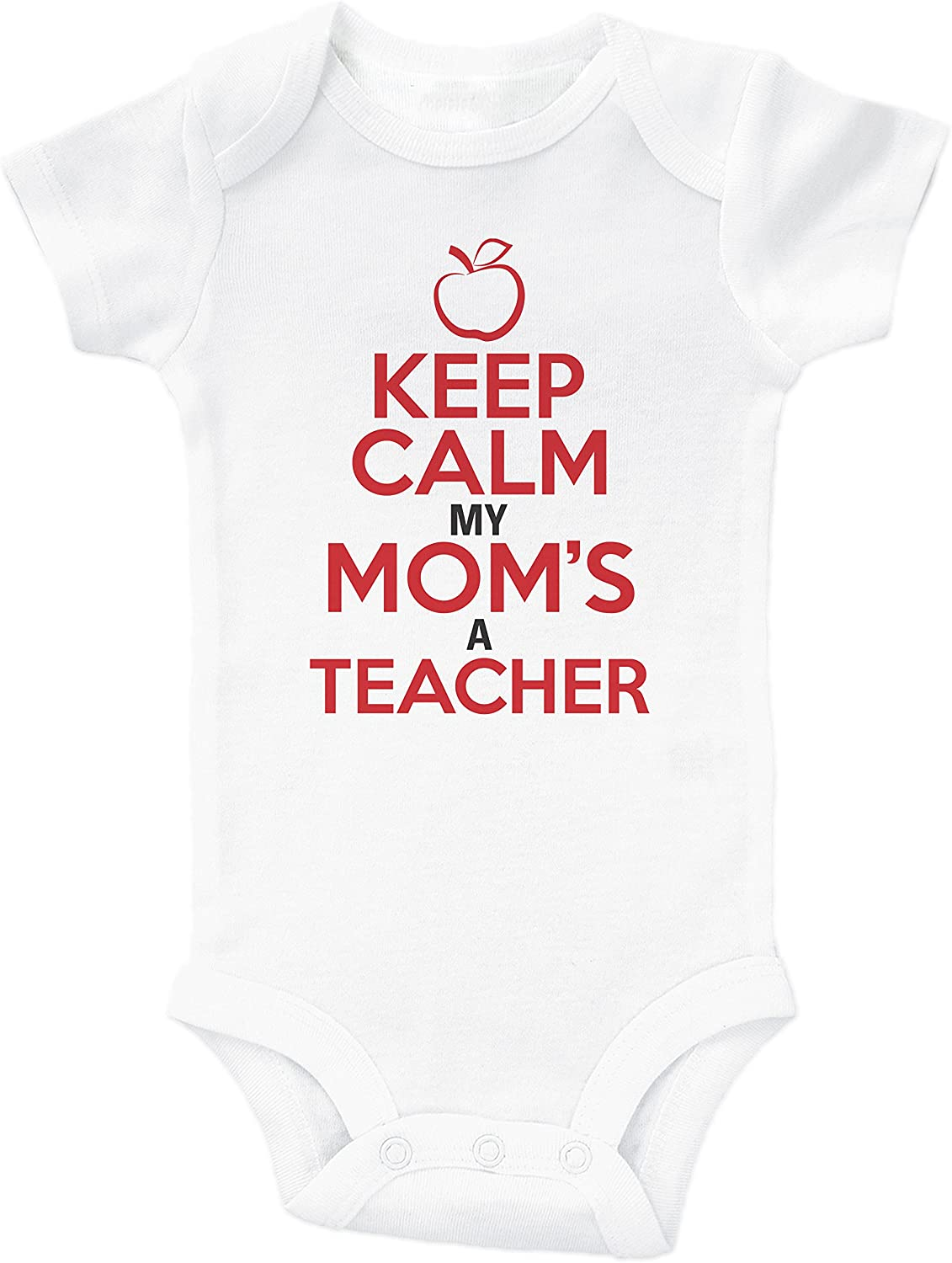 Baffle Keep Calm, My MOM'S A Teacher/Funny Teaching Onesie for Babies
