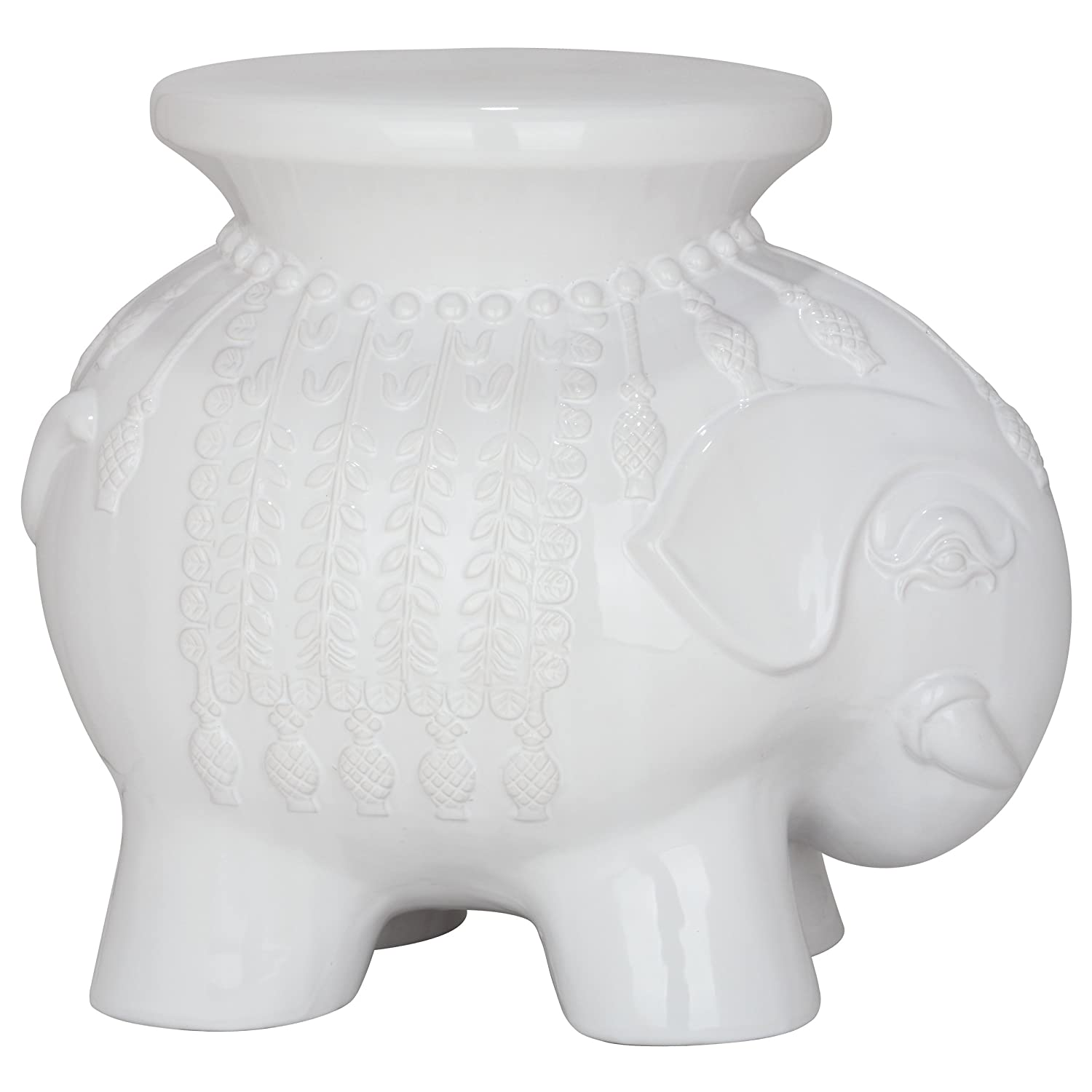 Amazon.com: Safavieh Castle Gardens Collection Elephant Ceramic Garden Stool,  White: Kitchen U0026 Dining