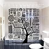 Black and White Tree Shower Curtain | Aztec Ethnic Design | Set with 12 Stainless Steel Hooks and Rings, Rust-Proof | Non-Toxic Mildew Resistant PEVA | No Liner Needed | 71x71 Inch