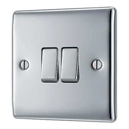 bg electrical npc42 13amp double 2 way metal polished chrome switchbg electrical npc42 13amp double 2 way metal polished chrome switch amazon co uk diy \u0026 tools