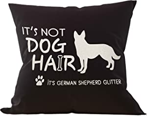 Mancheng-zi It's Not Dog Hair It's German Shepherd Glitter Throw Pillow Cover, Dog Lover Gifts, 18 x 18 Inch German Shepherd Decor Black Linen Cushion Cover Decoration for Sofa Couch Bed