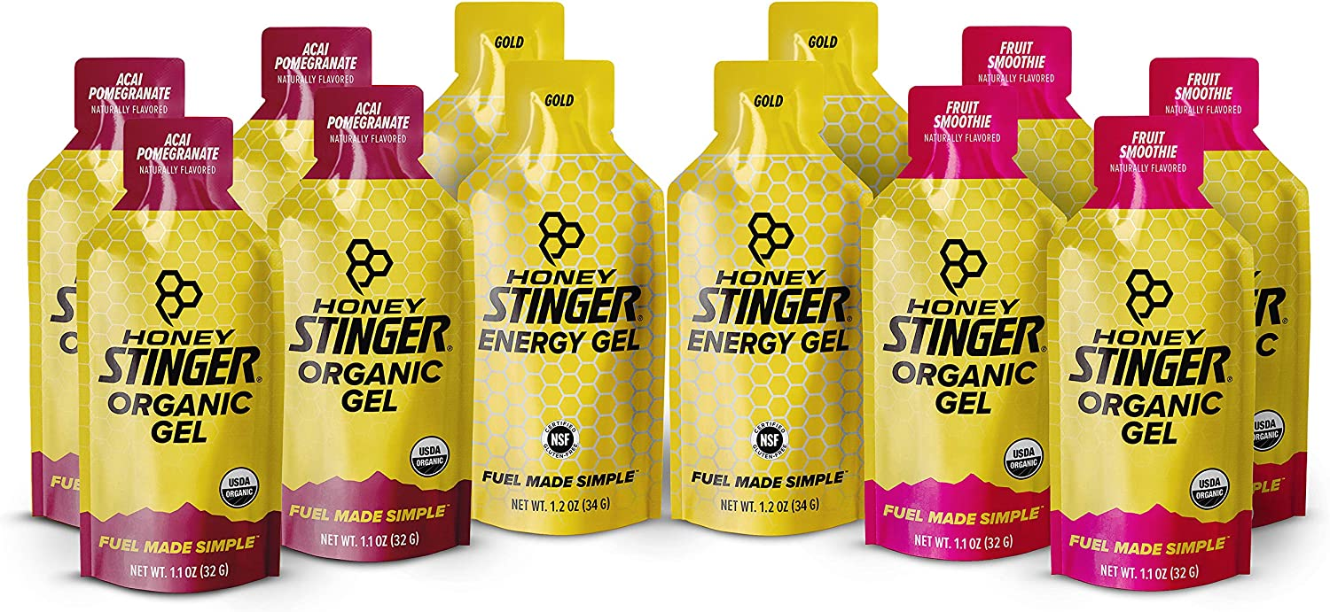 Honey Stinger Organic Energy Gels – Variety Pack with Sticker – 12 Count – 4 of Each Flavor – Energy Source for Any Activity – Acai Pomegranate, Gold & Fruit Smoothie