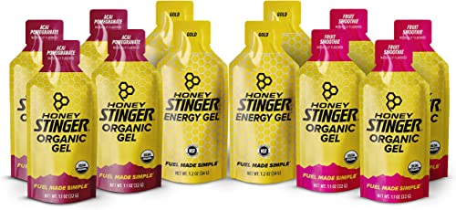 Honey Stinger Organic Energy Gels Variety Pack with Sticker 12 Count 4 of Each Flavor Energy Source for Any Activity Acai Pomegranate, Gold Fruit Smoothie
