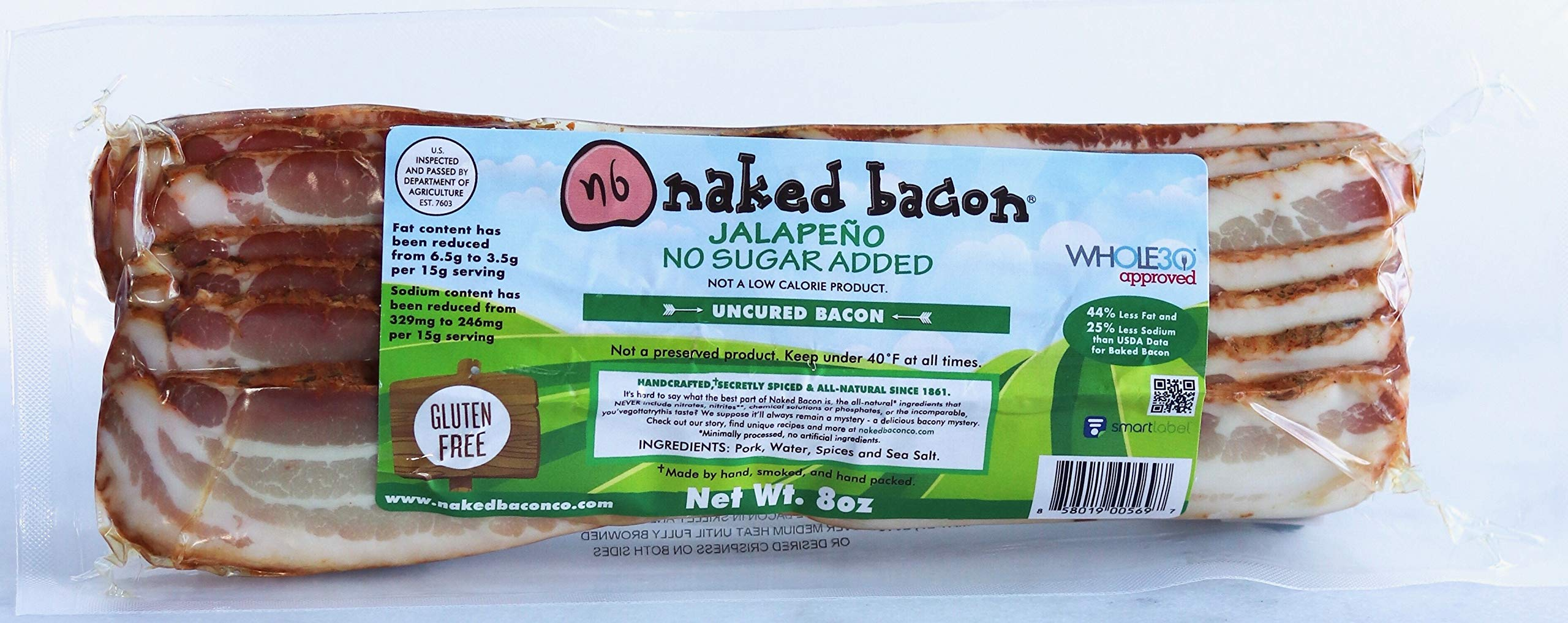 Jalapeno Sugar Free Naked Bacon - Whole30 Approved Multipack (5 packages)