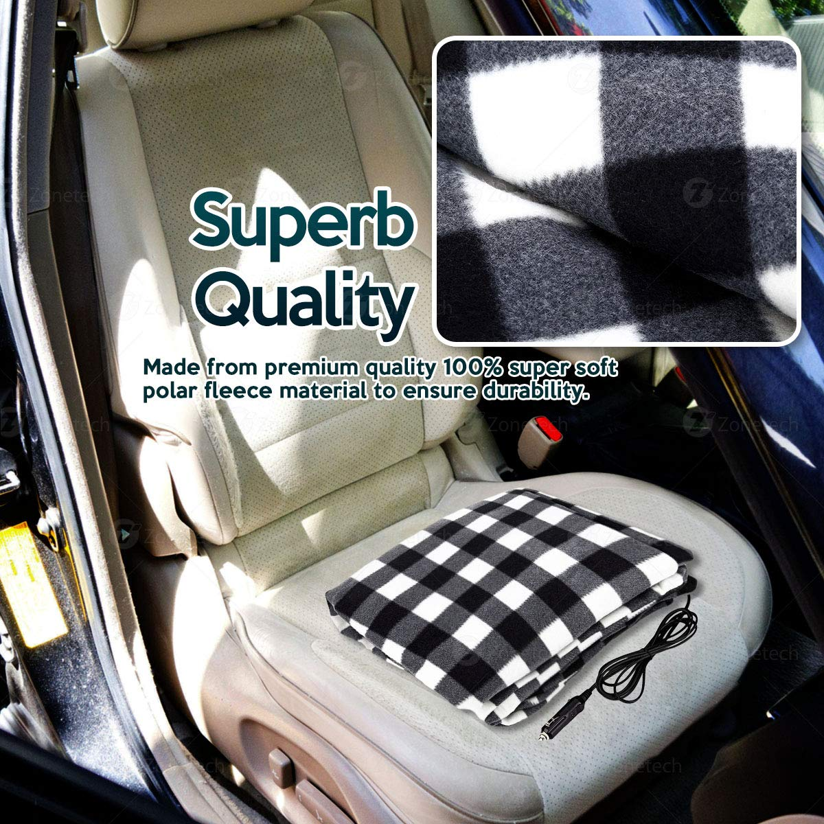 3069f09e68 Zone Tech Car Heated Travel Blanket - Black and White Premium Quality 12V  Automotive Comfortable Heating Car Seat Blanket Great for Winter