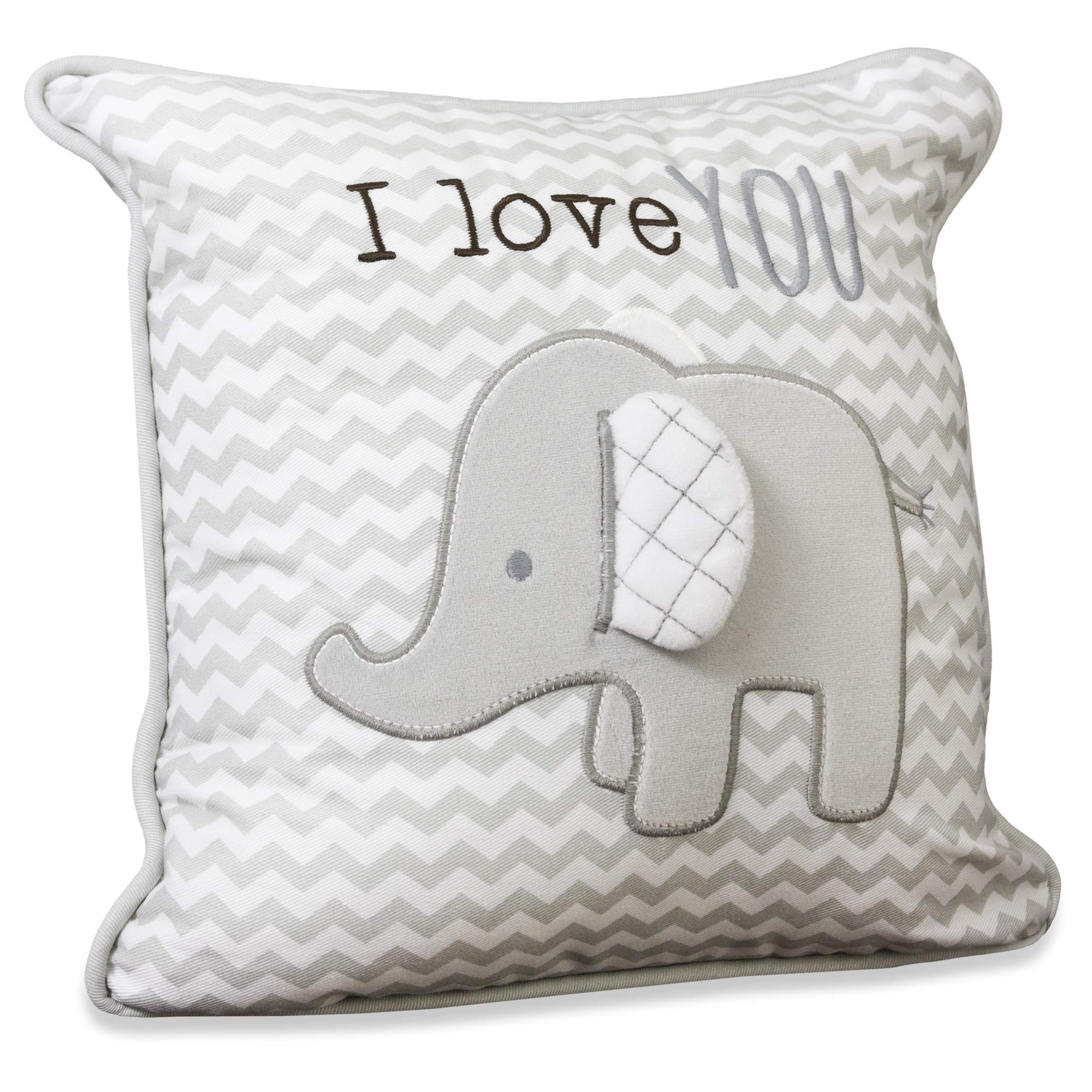 Wendy Bellissimo Super Soft Square Decorative Pillow + Throw Pillow Nursery Décor - Elephant Grey and White