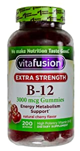 Vitafusion Extra-Strength Vitamin B12 3000mcg Natural Cherry Flavor, 200 Gummies