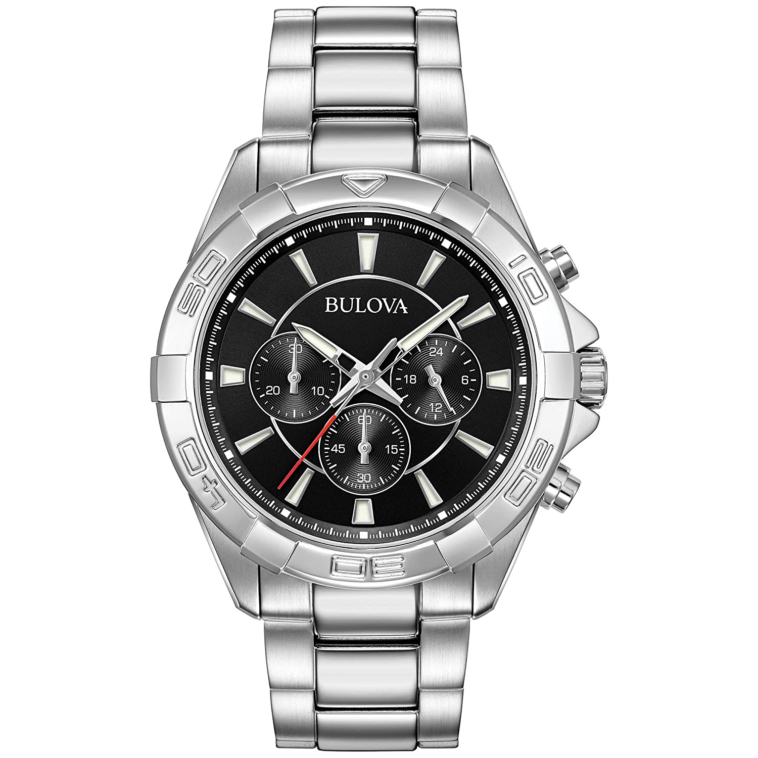 4faeb3a32 Amazon.com: Bulova Men's 96A216 Chronograph Black Dial Sport Stainless  Steel Watch: Watches