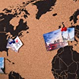 Global Gizmos Mappa del mondo decorativa in sughero da appendere, 60 x 40 cm, con puntine, legno, marrone, 60 x 3 x 40 cm