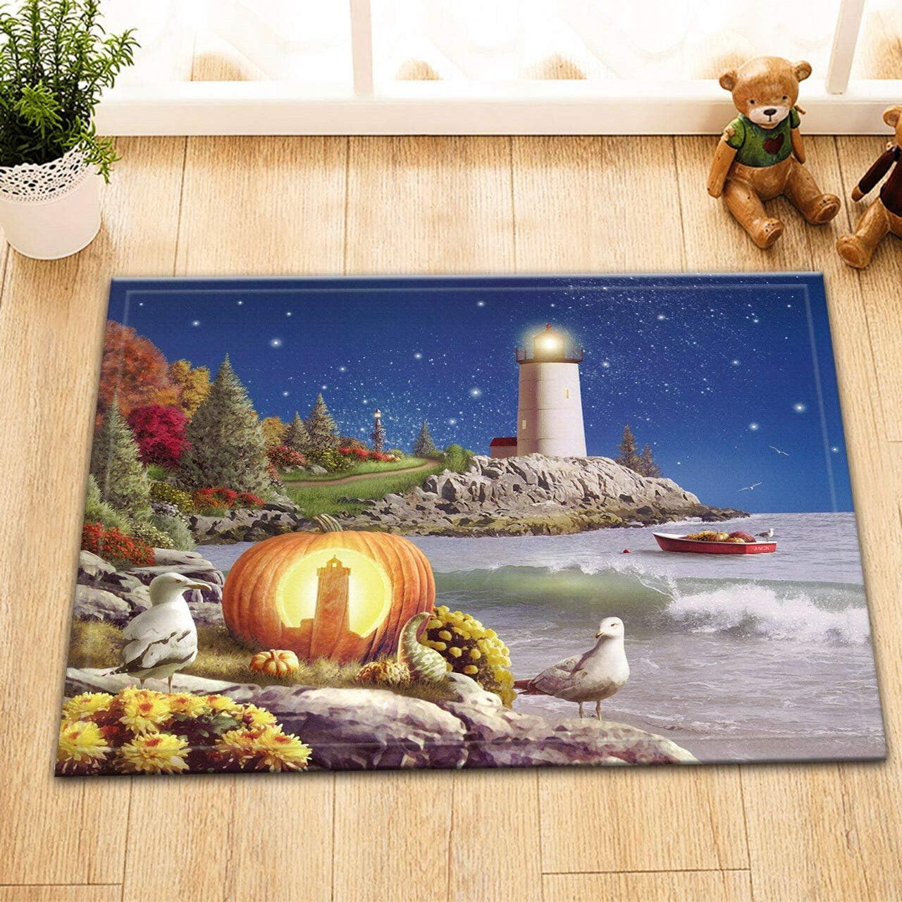 WEIZHE Lighthouse of Halloween Polyester Bathroom Mat Door Mat Anti-Slip Floor Indoor Entrance Mat Children 40X60CM