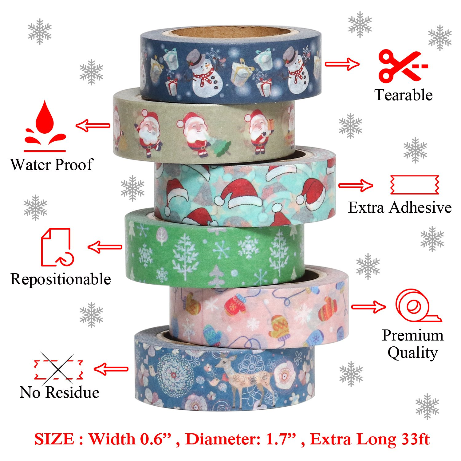 Sticky Masking Duct Tapes Gift Box Glitter Patterned Solid 16 Decorative Rolls DIY Crafts Planners Scrapbooking ARTIT Premium Washi Tape Set 4 Sticker Sheets 33 feet Long 0.6 inch Wide