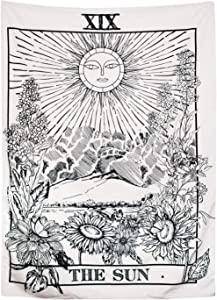 Arfbear Black Tarot Tapestry, The Moon The Star The Sun Tapestry Wall Hanging Medieval Europe Divination White and Black Wall Decor 51.2x59 Inches