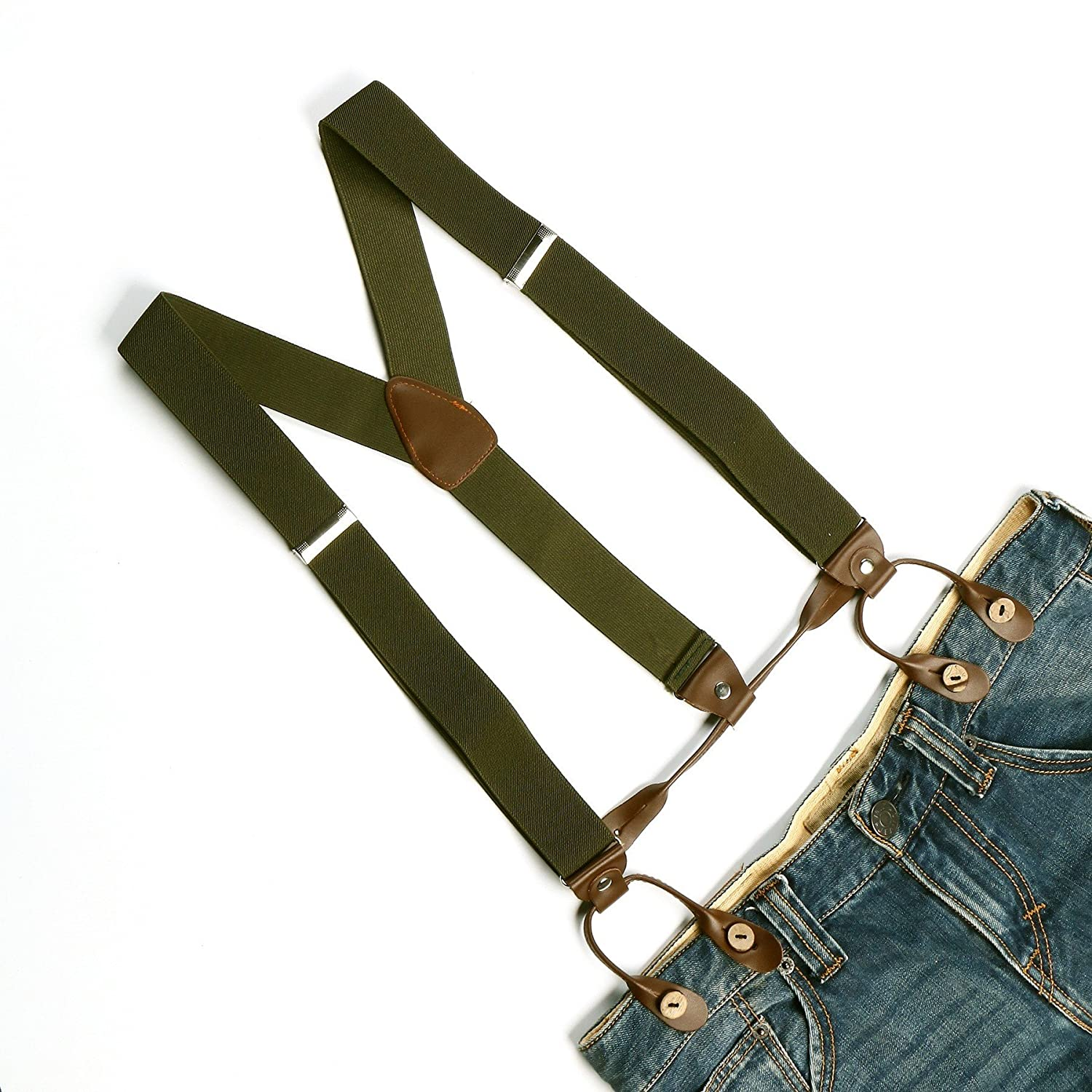 Enwis Mens Suspenders Braces Polyester Elastic Button Holes Solid Pickle Green BD703