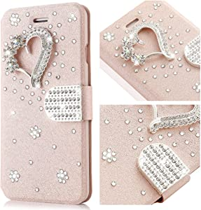L-FADNUT for iPhone 6s Plus Case, Bling Jewellery Crystal Rhinestone Flip PU Leather Case,3D Love Magnetic Diamond Buckle with Stand Wallet Card Holder for iPhone 6/6s Plus 5.5 inch - Rose Gold