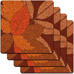 Fall Leaves Thanksgiving Harvest Low Profile Cork Coaster Set
