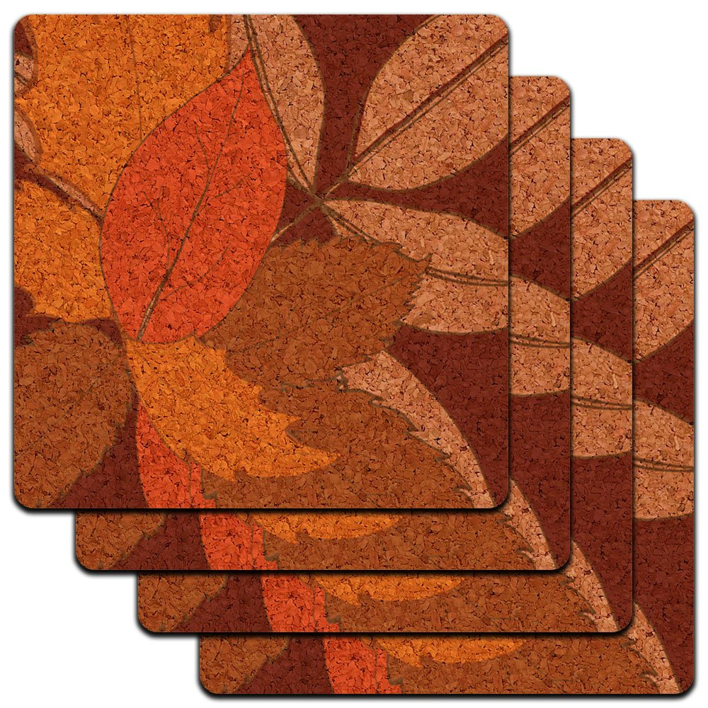 Fall Leaves Thanksgiving Harvest Low Profile Cork Coaster Set Graphics and More