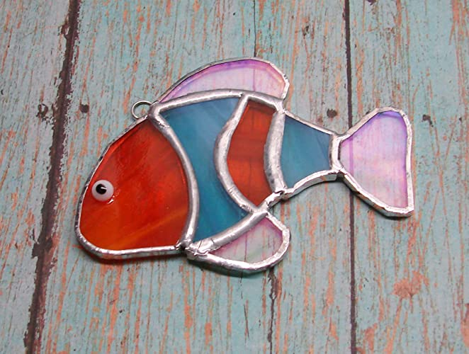 Handmade Stained Glass Fish Suncatcher Yellow And Red Glass Gift
