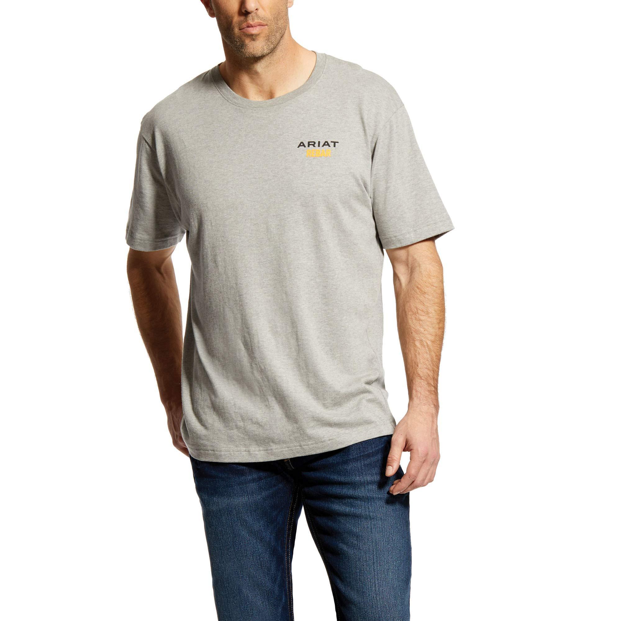 ARIAT Men's Rebar Cottonstrong Short Sleeve Logo Crewwork Utility Tee Shirt