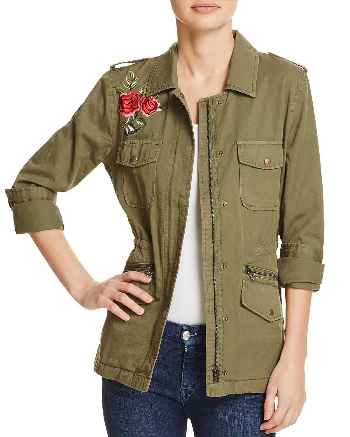 Velvet by Graham & Spencer Women's Rhoda Embroidered Army Jacket, Forest Green, X-Small