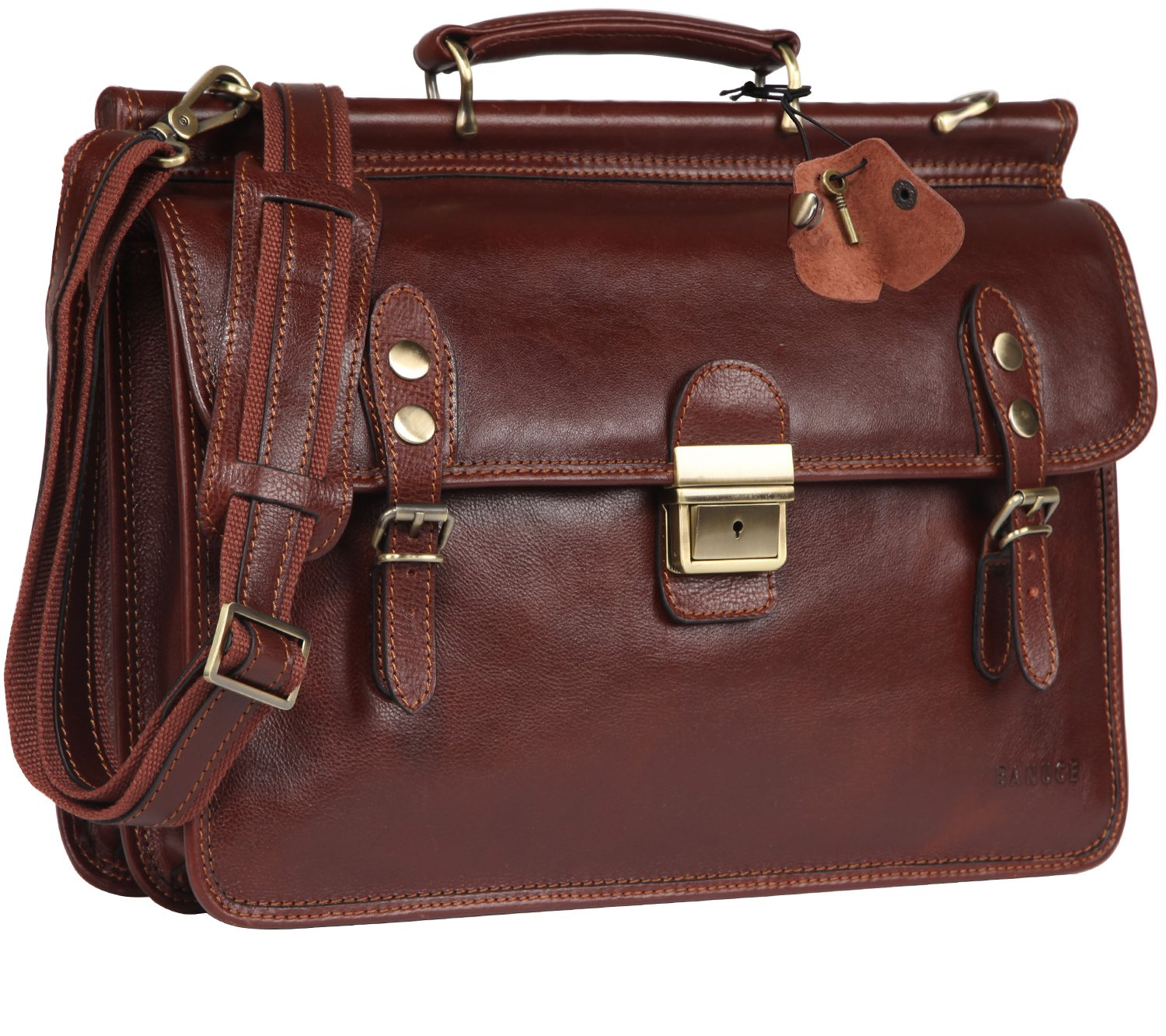 Banuce Mens Italian Leather Flapover Briefcase Tote 2way Business Laptop Messenger Bag Attache Case by Banuce