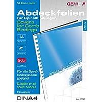 Genie 11185 Deckblätter (DIN A4, glasklar, 150 Micron, geeignet für alle Bindegeräte) 50 Stück transparente