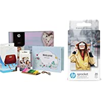HP Sprocket Gift Pack Photo Printer(Red) & HP Zink Photo Paper (2 * 3 inch) - Pack of 20 - for HP Sprocket & Sprocket 2-in-1