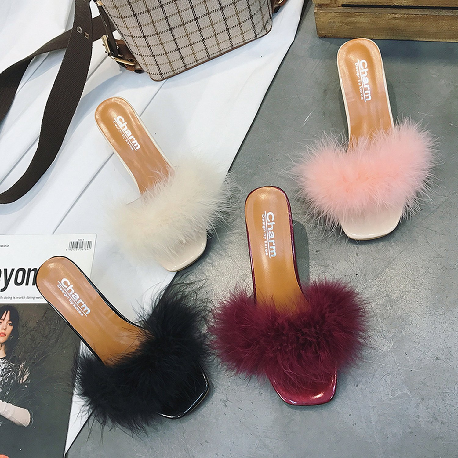 Kingwhisht Faux Fur Slippers Outdoor Slides Leisure Colors Dress Parties 6Cm Heels Shoes