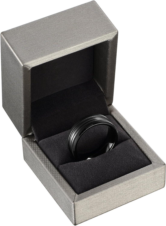 SSLC Modern Style comfort fit Mens 8mm Black Titanium Wedding Band Ring Sizes 7 to 13