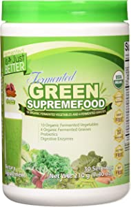 Divine Health Organic Fermented Green Supremefood - 10 Vegetables + 4 Grasses and Probiotics, Apple Cinnamon Flavor (30 Day Supply)