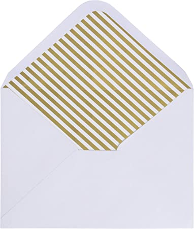 50-Pack A7 Ivory Invitation Envelopes w// Lined Gold Foil Rims Gummed Seal V-Flap