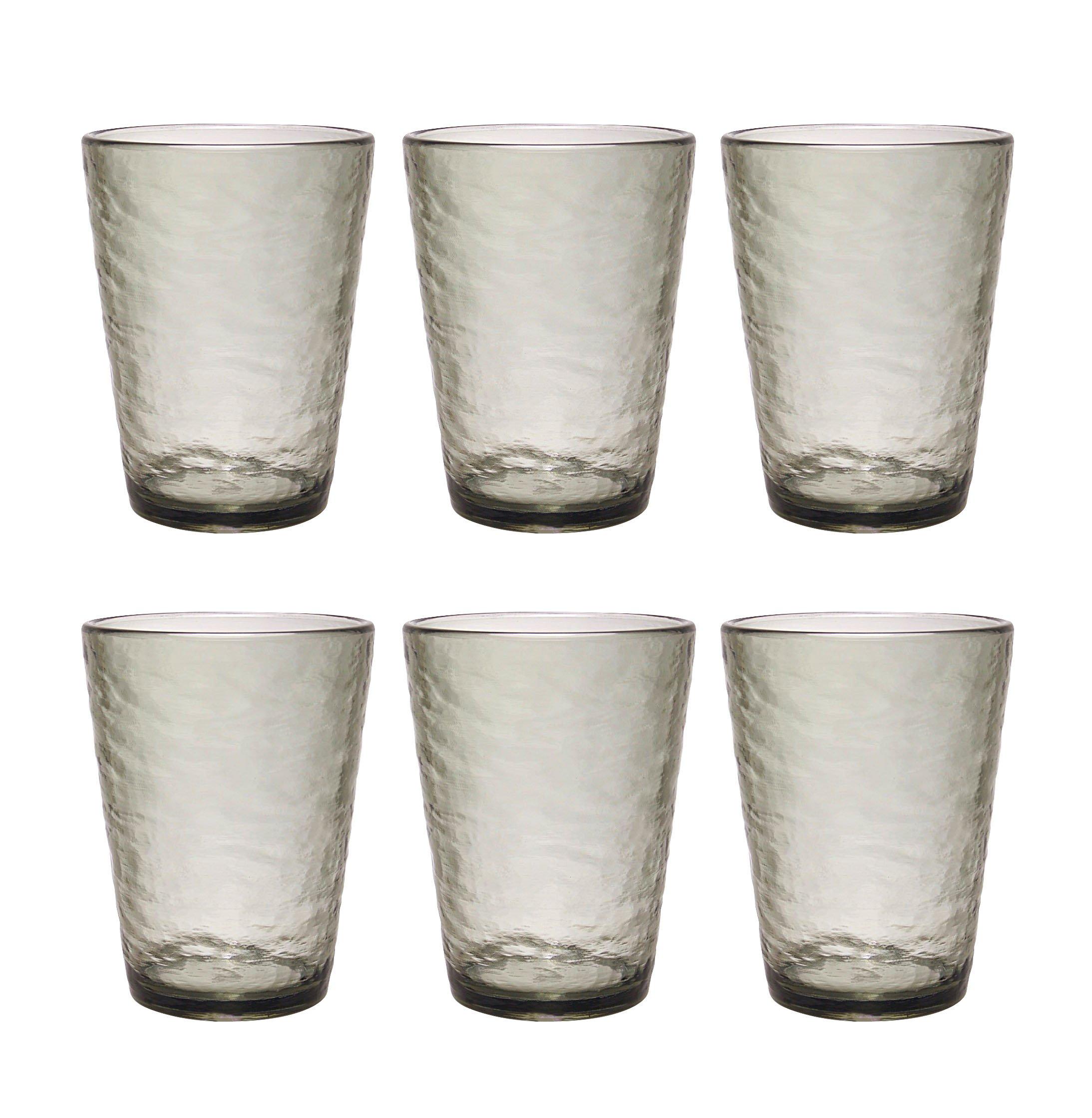 Premium Acrylic Drinking Glass, Set of 6, 16.6 oz, BPA-Free, Gray-Black