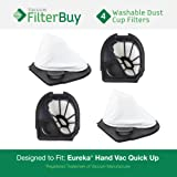 4 - Eureka Quick Up Washable Dust Cup DCF-11 Filters, Part #'s 39657, 62558A. Designed by FilterBuy to fit Eureka Vacuum Models 61, 70, 71, 61A, 71A, 70AX, 71A, 71AV, 71B, AG61A, UK61A, Z61A