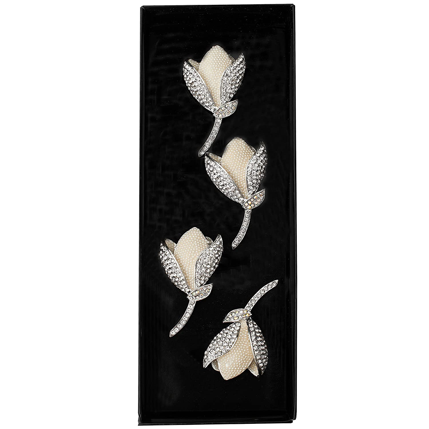 Fancy Tulipe Flower with Crystals Napkin Rings Set of 4