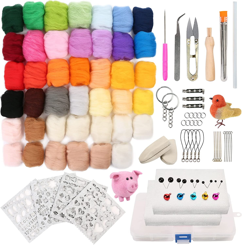 LotFancy Needle Felting Kit, 116PCS Wool Felting Starter Kit for Beginners, Wool Roving 33 Colors Set, Needle Felt Tools Supplies for DIY Craft Animal Home Decoration