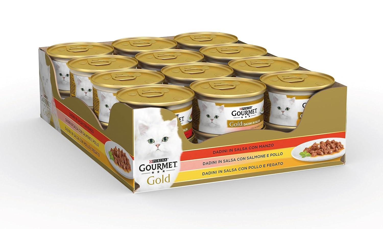 Gourmet Gold Alimento para el Gato Dados de Salsa con Manzo, con salmón y Pollo, con Pollo y Fegato, Pack de 24 Unidades x 85 g: Amazon.es: Productos para ...